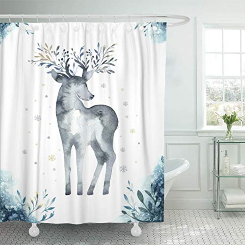 (Emvency Shower Curtain Set with Hooks Polyester Fabric Watercolor Closeup Portrait of Cute Deer Christmas Animal Winter Resistant Waterproof Adjustable 66 x 72 Inches for Bathroom)
