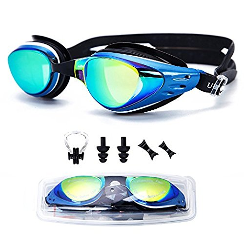 727a7c6d48d UTOBEST Optical Swim Goggles Nearsighted Prescription Swimming Goggles with  Degree UV Protection Anti-Fog No Leaking with Ear Plugs Nose Clip for Women  Men ...