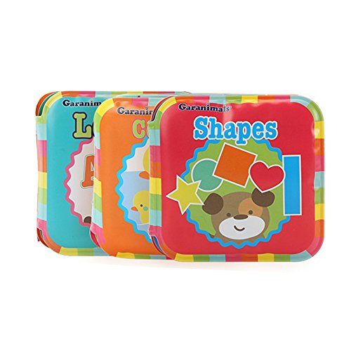 GardenHelper Baby Bath Books Waterproof Educational Bath Toy for Baby or Toddler Alphabet & Numbers & Shapes Books (Set of 3) 3.5 x 3.5