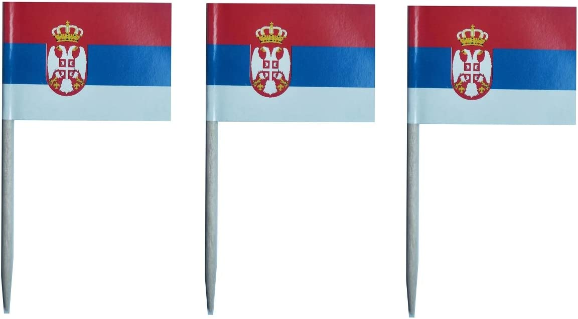 JAVD CYPS 100 Pcs Serbia Flag Serbian Toothpick Flags, Small Mini Stick Cupcake Toppers Serbian Flags,Country Picks Party Decoration Celebration Cocktail Food Bar Cake Flags