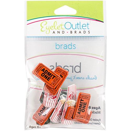 EYELET OUTLET 24 Shape Brads 12/Pkg-Popcorn Ticket