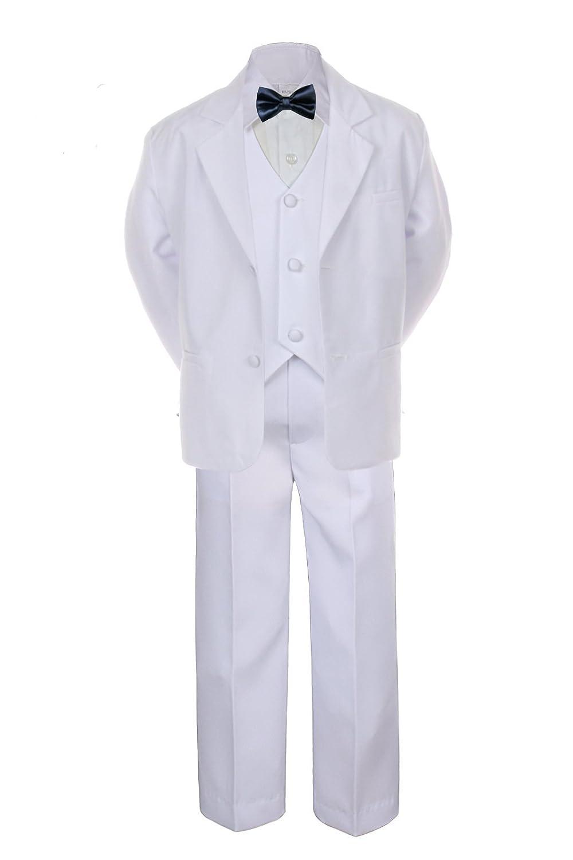 6pc Boy Wedding Baptism Graduation White Vest Suit Set Navy Satin Bow Tie Sm-20