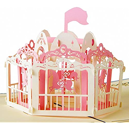 IShareCards Handmade 3D Pop Up Greeting Cards for Every Occasion - Merry-go-round (Pink White red front) Sales