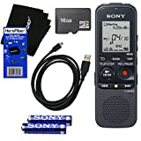 Sony ICD-PX333 Built-in 4GB Flash Memory Digital Voice Recorder with Memory Card Expansion Slot + 16GB MicroSDHC Memory Card + USB Cable + AAA Batteries & HeroFiber® Ultra Gentle Cleaning Cloth