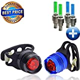 LED Bike Light Set - 2 Multi-Purpose Rear Aluminum LED Lights - 4 Durable and Improved Wheel Lights - Mount w/out tools - 100% Waterproof