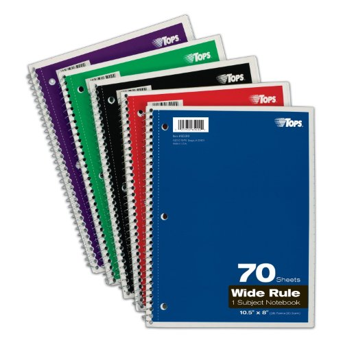 TOPS 1-Subject Spiral Notebooks, Wide Rule, 8 x 10.5 Inches, 70 White Sheets per Book, Cover Colors May Vary, Box of 24 - Case Color Book