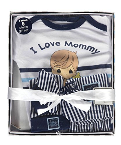 (Precious Moments Baby Boys I Love Mommy 5-Piece Layette Gift Set - white)