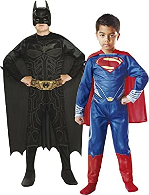 Rubies - Pack 2 Disfraces Batman y Superman, para niños, Talla L ...