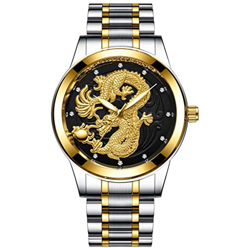 WoCoo Mens Wrist Watches,Luxury Golden Analog Quartz China Dragon Pattern Dial Watch with Stainless Steel Strap Wristwatch(G,CHINA DRAGON)
