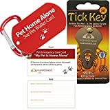 Tick Remover Key and Pet Dog ID Tag and Emergency Wallet Card with Laminating Pouch (Combo Pack)