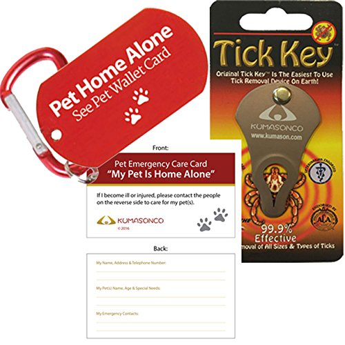 Tick Remover Key and Pet Dog ID Tag and Emergency Wallet Card with Laminating Pouch (Combo - Gate Fountain Shopping