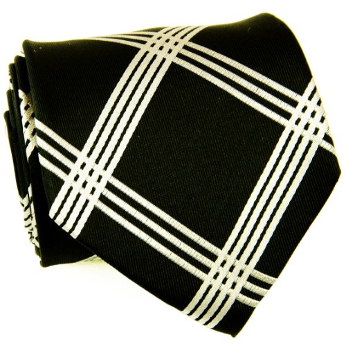 Extra Long Necktie Set by Paul Malone 100% Silk , Black and Silver Plaids