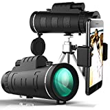 Yakalla Monocular Telescopes, 40X60 Travel Scope, Portable Telescope with Phone Clip and Tripod