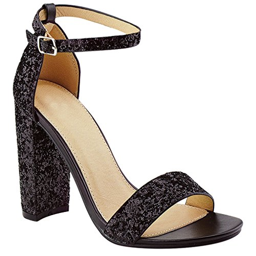 (Women's Chunky Heel Ankle Buckle Strap Dress Party High Heel Sandal (Black)