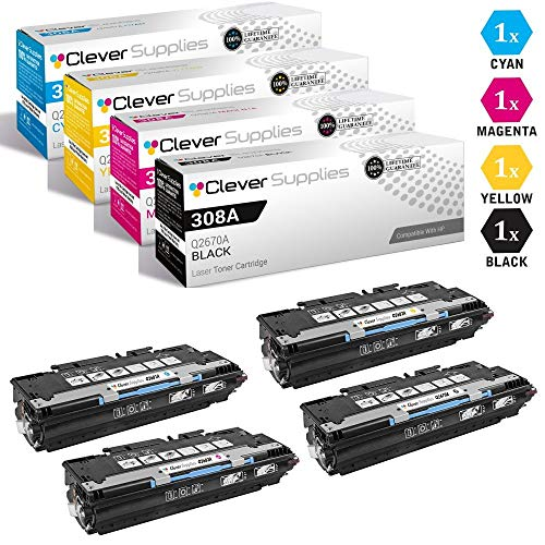 (CS Compatible Toner Cartridge Replacement for HP 3500 Q2670A Black Q2671A Cyan Q2672A Yellow Q2673A Magenta HP 308A & HP 309A Color Laserjet 3500dn 3500dtn 3750N 3750DN 3750DTN 4 Color Set)