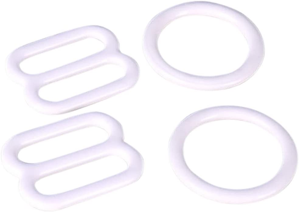 100 Pieces Porcelynne White Nylon Coated Metal Replacement Bra Strap Slide 50 Pairs 16mm 5//8 Opening
