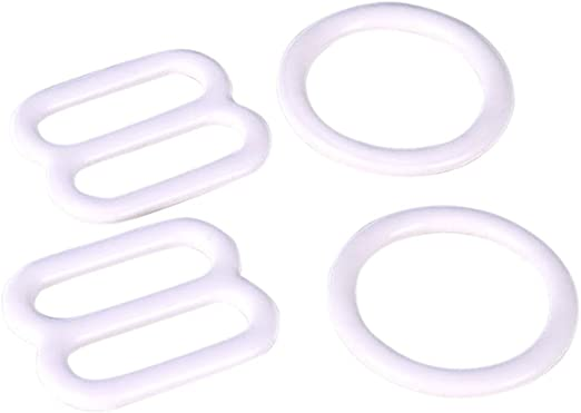 Porcelynne White Nylon Coated Metal Replacement Bra Strap Slide and Ring Set 3//8 10mm 2 Rings - 2 Slides Opening -