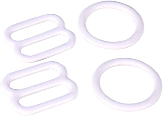 2 Rings - 2 Slides Opening - 10mm 3//8 Porcelynne Silver Metal Alloy Replacement Bra Strap Slide and Ring Set