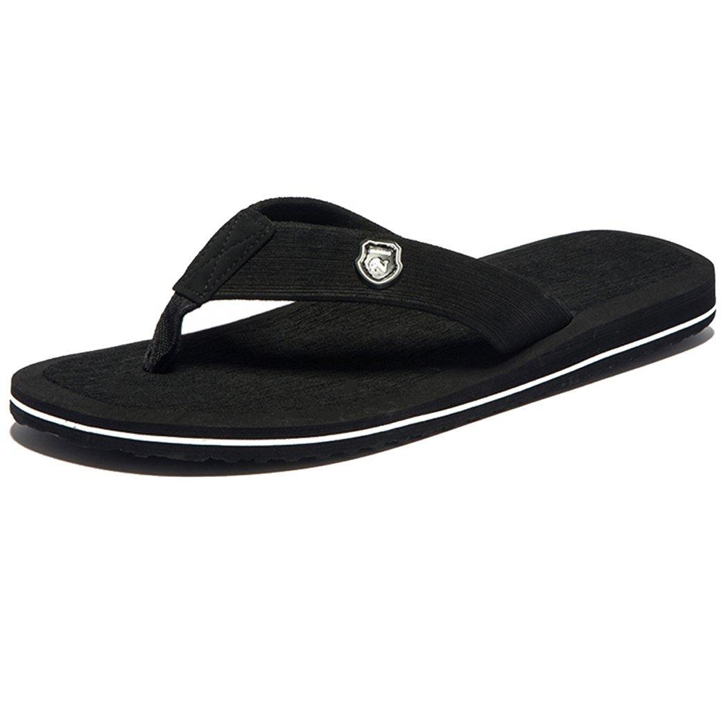 CHANGPING Mens Flat Sandals Summer Beach Slipper Flip Flops Black 10