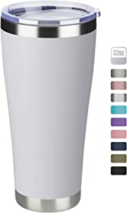 MEWAY 32oz Tumbler Double Wall Vacuum Insulated Travel Mug, Stainless Steel Coffee Tumbler with Lid, Durable Powder Coated Coffee Cup, Keep Drinks Cold & Hot (White, 1)