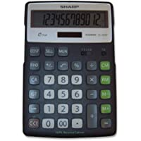 Sharp Calculators EL-R297BBK 12-Digit Recycled Plastic Cabinet Calculator - Black