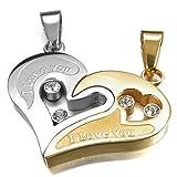 INBLUE Men,Women's 2PCS Stainless Steel Pendant Necklace CZ Silver Gold Tone Heart Love Valentine's Couples Set Charm Elegant