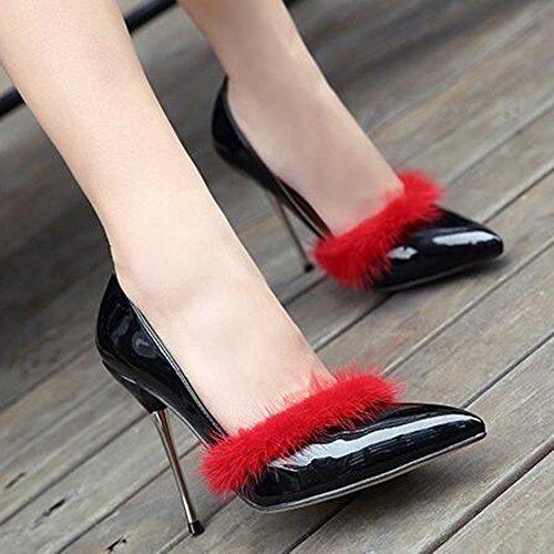 Easemax Para Mujer Elegante Bruñido Esponjoso Hebilla De Tobillo Correa De Punta Estrecha Alta Tacón De Aguja Bombas Zapatos Negro