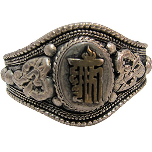 Tibetan Om White Metal Kalachakra Dharmachakra Mantra Yoga Meditation Bracelet