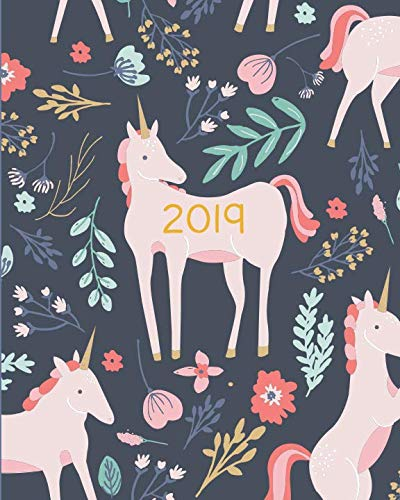 Book cover from 2019 Planner Weekly And Monthly: Calendar Schedule + Organizer | Inspirational Quotes And Fancy Unicorn Cover | January 2019 through December 2019 by Pretty Simple Planners