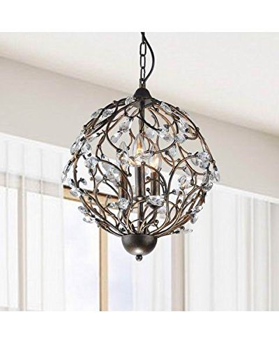 Jojospring Holly Antique Copper Iron Orb Shaped Crystal Leaves Chandelier