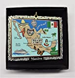 I Love My State Mexico Landmarks Colored Brass Ornament