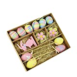 Northlight Set of 13 Pastel Pink, Blue and Yellow Easter Egg, Flower & Bunny Spring Decorations