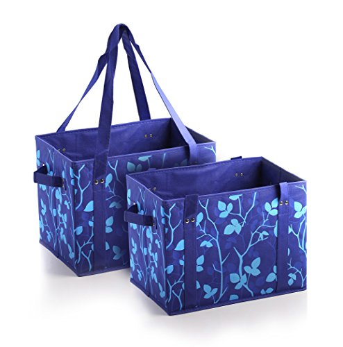 PreserveNext Reusable Classic Tote/Collapsible Shopping Box Set with Reinforced Bottom, Side Handles and Key Ring Clasp - Sapphire Blue (2 Pack)