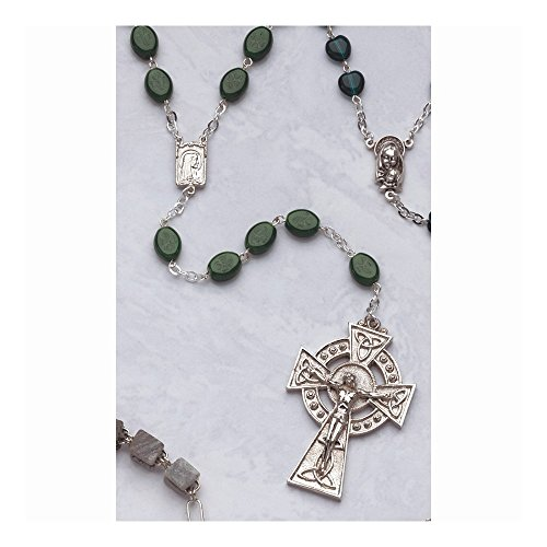 Irish Claddagh Celtic Knot Crucifix Cross Religious Glass Shamrock Bead Rosary Fashion Jewelry Gifts for Women for Her