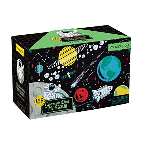 "(Mudpuppy Outer Space Glow-in-the-Dark Puzzle, 100 Pieces, 18""x12"", Made for Kids Age 5+, Illustrations of Planets, Stars, Spaceships and More, Award-Winning Glow in the Dark Puzzle)"