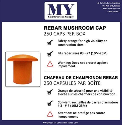 MYCS Rebar Mushroom Cap (250 Pack) - Rebar Size: #3-#7, 10M