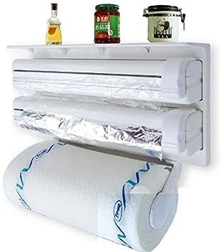 Dispensador portarrollos Triple Portarrollos Rollos de Pared Cocina de plástico para Protector Papel Horno Aluminio Papel