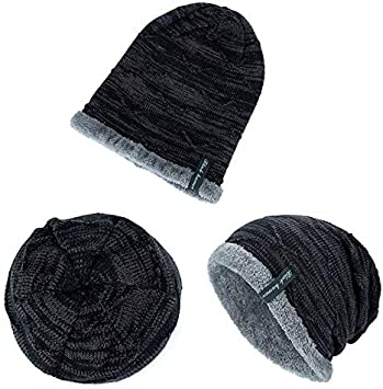 ACHKL 2019 Men Cap Hat Male Beanie Keep Warm Knitted Velvet Fluffy Cappello Donna Color : Black, Size : One Size