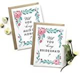 5 Pack - Will You Be My Bridesmaid Cards (4), Maid of Honor Card (1) - Assortment Pack of 5 - Rustic Floral Multicolored Wedding Party Cards
