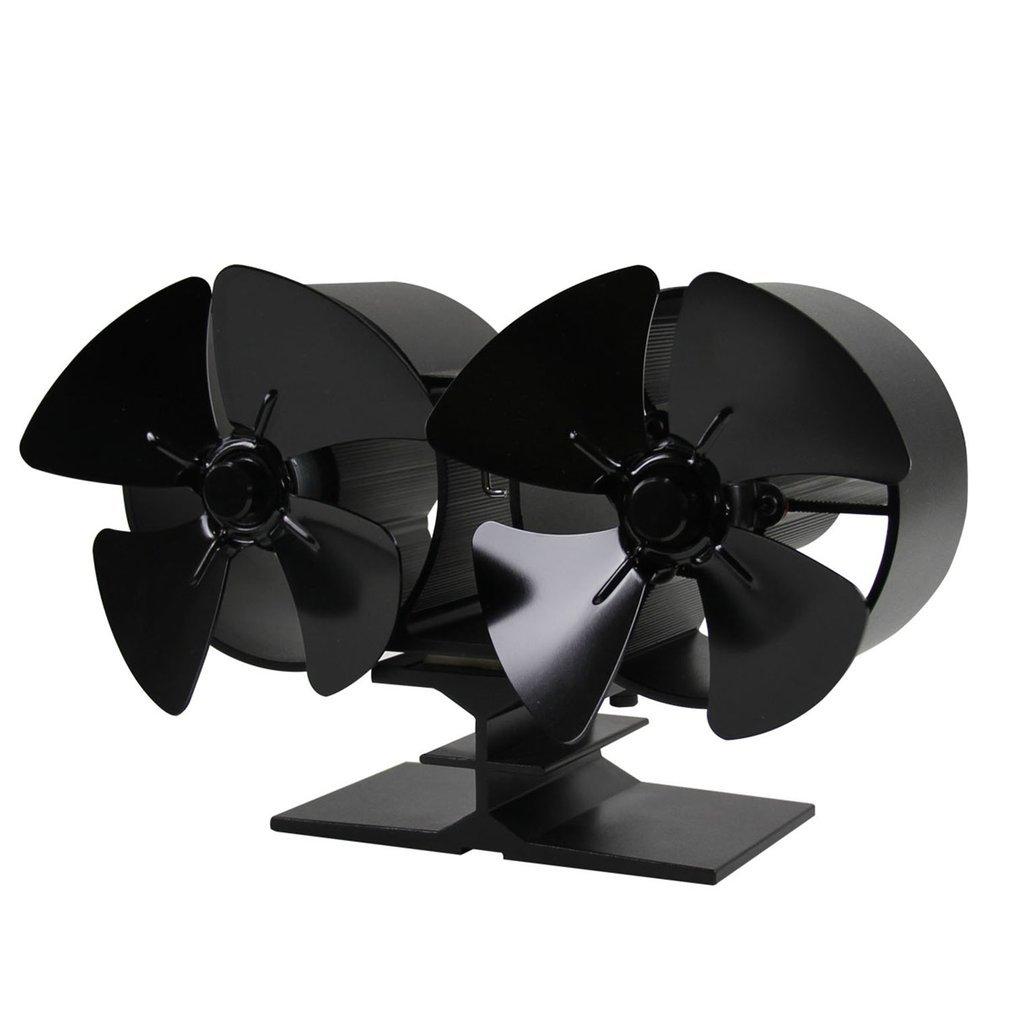 Kitechildheed Ventilateur Poêle à 4 pales à économie d'énergie - Alimenté Poêle deux Ventilateurs pour Bois/bûches Brûleur/cheminée - Aluminium Noir