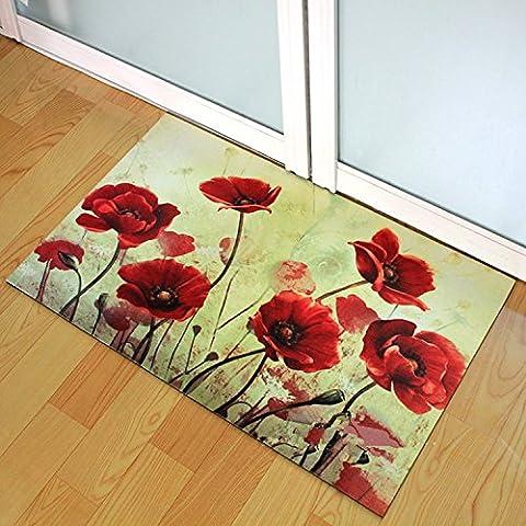 Brandream Bright Color Welcome Floor Mat Rubber Door Mat Kitchen Rugs Laundry Room Mats,Red Flower - Color Door Mat