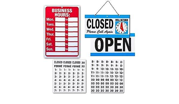 Señal abierta cerrada y señal de hora de negocios para ...