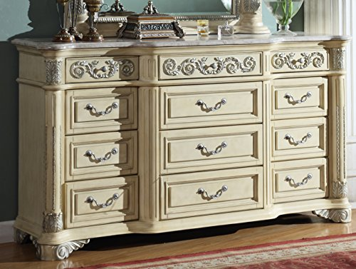 Meridian Furniture Sienna-D Sienna Traditional Style 12 Drawer Solid Wood Bedroom Dresser with Detailed Hand Carved Designs and Genuine Marble Top, Rich Antique White Finish with Silver ()