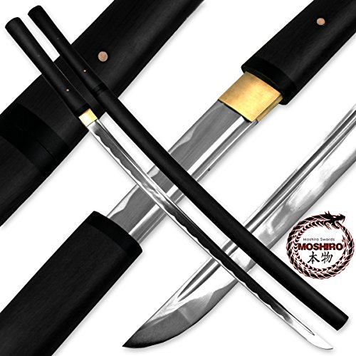 Battle Ready Katanas (Moshiro Shirasaya Functional Katana Bushido Ebony Sword Full Tang Battle Ready)