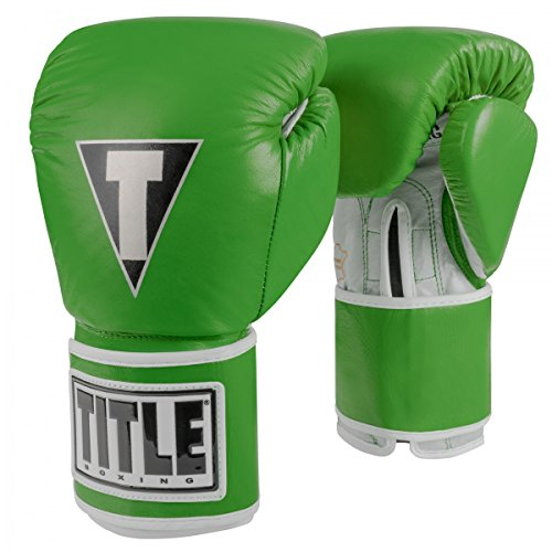 Title Boxing TITLE Limited Pro Style Leather Training Gloves, Green/Silver, 16 oz - Silver Green Leather