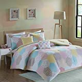 Kaputar Beautiful Modern Chic Pink Aqua Blue Purple Yellow Girls Polka DOT Comforter Set | Model CMFRTRSTS - 3505 | Queen