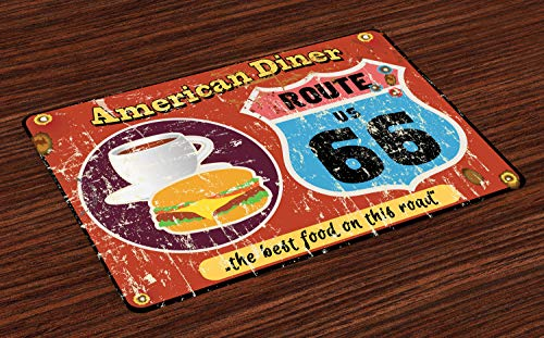 - Lunarable Route 66 Place Mats Set of 4, American Diner Old Fashioned Sign Main Street of America Journey Famous Adventure, Washable Fabric Placemats for Dining Table, Standard Size, Multicolor