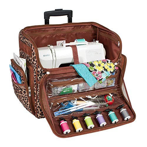 Everything Mary Deluxe Quilted Cheetah Print Rolling Sewing Machine Tote - Sewing Machine Case Fits Most Brother & Singer Sewing Machines, Sewing Bag with Wheels & Handle - Portable Sewing Case