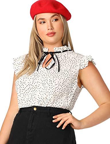 (Romwe Women's Elegant Polka Dots Print Cap Sleeve Bow Tie Neck Chiffon Blouse Top White)