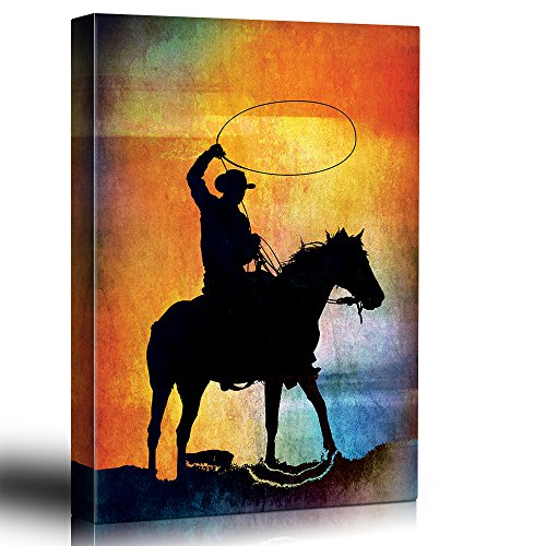 Colorful background with Cowboy horse and lasso Silhoutted rider on painted background